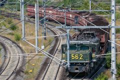 German train transporting brown coals from Hambach mine to power plant Royalty Free Stock Photo