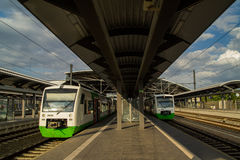 German trains on railway station Stock Photography