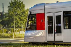 German tramway sideview Royalty Free Stock Images