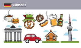 German travel destination promotional poster with cultural symbols Royalty Free Stock Images