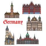 German travel landmark thin line icon set Royalty Free Stock Photo