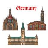 German travel landmarks icon of church, city hall Stock Images