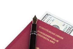 German travel passport with money Stock Images