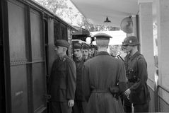 German troops with prisoners Stock Image