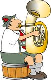 German tuba player. This illustration depicts a German tuba player dressed in lederhosen Royalty Free Stock Photos