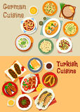 German and turkish cuisine icon for menu design. German and turkish cuisine icon with grilled meat, pork sauerkraut, cheese fruit, potato and sausage salads Royalty Free Stock Image