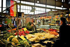 German vegetable market. Frankfurt - May 2015: vegetable market in Frankfurt on the Main, Germany royalty free stock photo