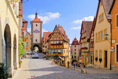 German village. Classic view of Rothenburg ob der Tauber, Germany Royalty Free Stock Photography