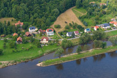 German village on the banks of the river. Stock Photography