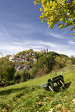 German village on a hill. The village of eglofstein in germany with a castle on top Stock Photography