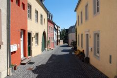 German Village Street. Cobblestone street in the town center of Bitburg, Germany on a sunny day Stock Images