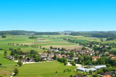 German village on viewing from tower at Andechs Monastery Royalty Free Stock Photo
