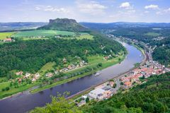 The German villages of Halbestadt and Ebenhayt, as well as Mount Lilienstein. The Elbe River. Saxon Switzerland, Germany. View fro. M the fortress of Koenigstein stock photo