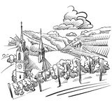 German Vineyard Sketch with Church, River and Hills Royalty Free Stock Images