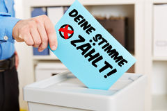 German voting slogan. Deine Stimme zaehlt! (Your vote counts!) on a ballot paper Royalty Free Stock Photography