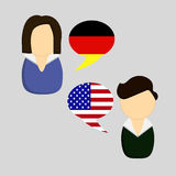 German vs American communication icons Stock Image