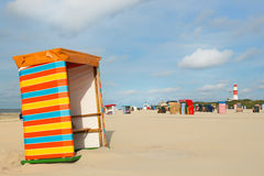 German wadden island Borkum. Beach of German wadden island with typical striped chair stock photo