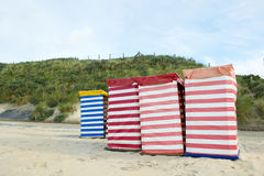 German wadden island Borkum. Beach of German wadden island with typical striped chair stock image
