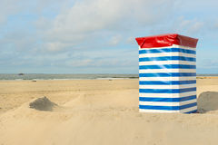 German wadden island Borkum. Beach of German wadden island with typical striped chair and the sea stock photo