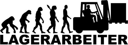 German Warehouse worker evolution with forklift Stock Photos