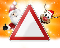 German warning sign christmas 3d Royalty Free Stock Images