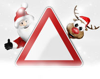 German warning sign christmas 3d Royalty Free Stock Photo