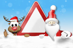 German warning sign Christmas Santa Claus and Happy Reindeer Royalty Free Stock Image