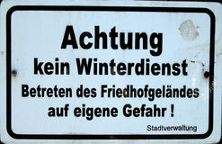 German warning sign Stock Photo