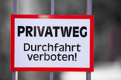 German Warning Sign Private Property Royalty Free Stock Photo