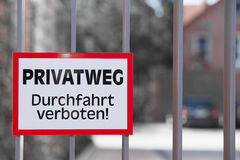German Warning Sign Private Property Trespassing Royalty Free Stock Photos