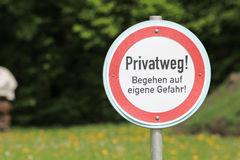 German warning sign: Private road Stock Photos