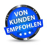 German Web Button - Translation: Recommended By Customers. Vector Illustration - Isolated On White Background Stock Photos