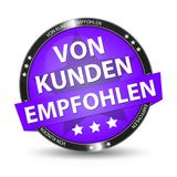 German Web Button - Translation: Recommended By Customers. Vector Illustration - Isolated On White Background Stock Images