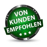German Web Button - Translation: Recommended By Customers. Vector Illustration - Isolated On White Background Stock Photography