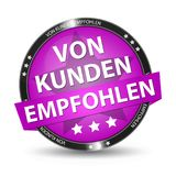 German Web Button - Translation: Recommended By Customers. Vector Illustration - Isolated On White Background Stock Photo