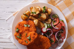 German Weiner schnitzel with potatoes closeup. horizontal top vi Stock Photos
