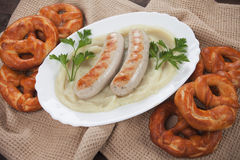 German white sausage with mashed potato Royalty Free Stock Images