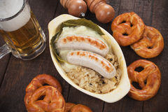 German white sausage with sauerkaraut Royalty Free Stock Images