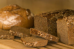 German whole meal bread. Fresh cut German whole meal bread Stock Photography