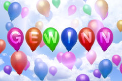 German win prize balloon colorful balloons Stock Photography