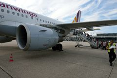 German Wings airplane. Tourists are boarding a german wings jetplane at stuttgart airport Stock Photography