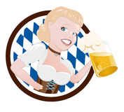 German woman with beer. Woman holding a large beer for a German or Bavarian Beerfest Royalty Free Stock Photo