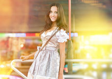 German Woman posing and wearing traditional Dirndl Royalty Free Stock Image
