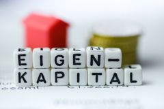 German Word EQUITY formed by alphabet blocks: EIGENKAPITAL. Real estate business Royalty Free Stock Photos