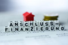 German Word FOLLOW UP FINANCING formed by alphabet blocks: Anschlussfinanzierung. Real estate business Royalty Free Stock Photos