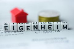 German Word HOME OWNERSHIP formed by alphabet blocks: EIGENHEIM. Real estate business Stock Photo