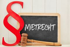 Tenancy Law Specialist Law Concept with Law Paragraph. German word Mietrecht tenancy law as concept with law book paragraph next to a blackboard royalty free stock photo