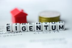 German Word PROPERTY formed by alphabet blocks: EIGENTUM. Real estate business Stock Image