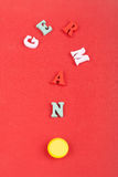 German word on red background composed from colorful abc alphabet block wooden letters, copy space for ad text. Learning. English concept royalty free stock images