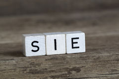German word she, written in cubes Royalty Free Stock Photos